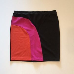 Forever 21+ Black Mini Skirt with pink and coral .